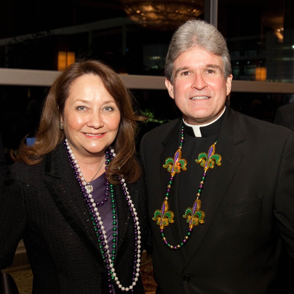 University of St. Thomas Mardi Gras, Feb. 2016, Cecilia Abbott, the Rev. Frank Rossi