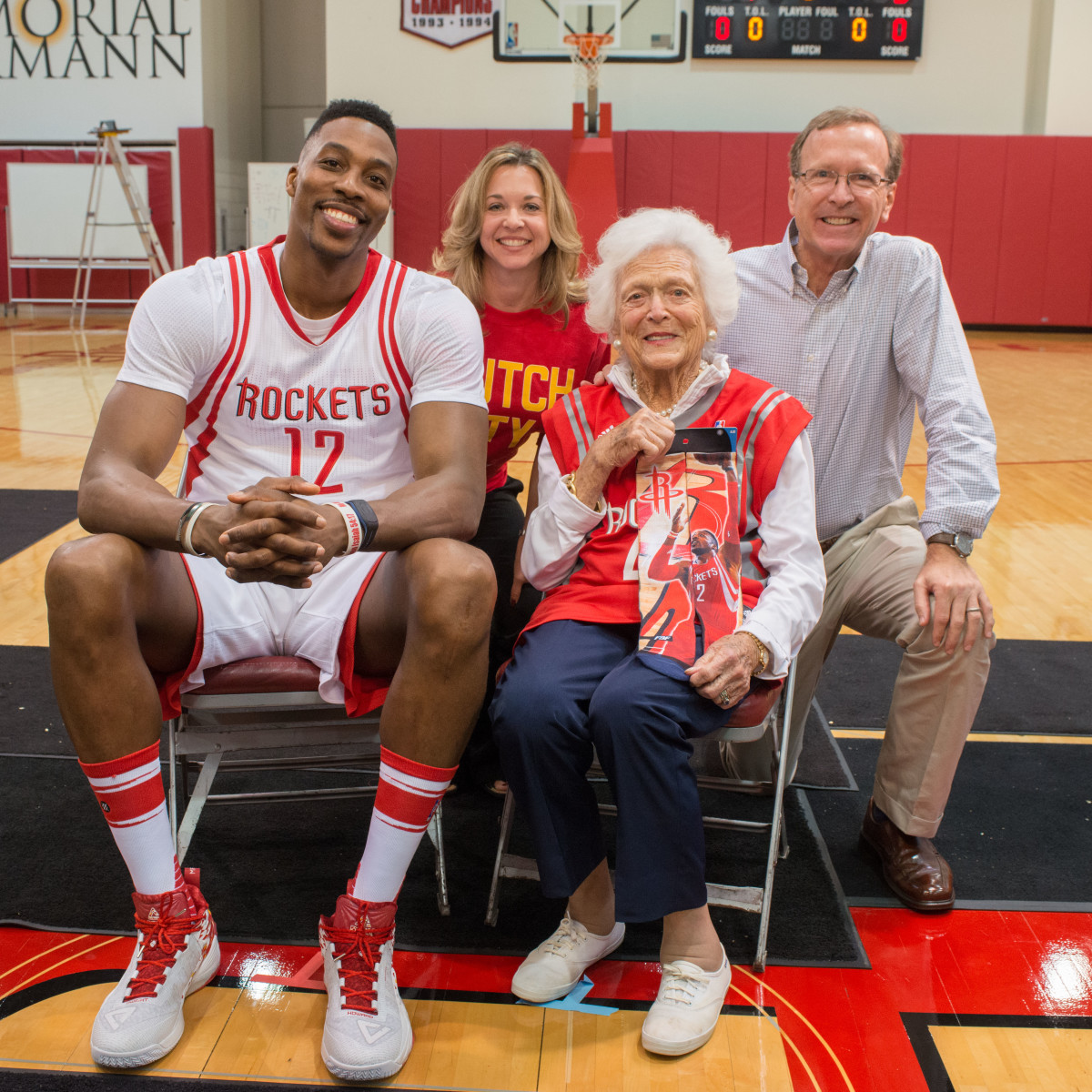 Connect4Literacy photo shoot, Feb. 2016, Barbara Bush, Dwight Howard, Julie Backer Finck, Neil Bush