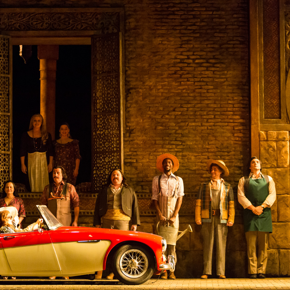 HGO Marriage of Figaro, Jan. 2016. Pureum Jo, Barbarina; Ailyn Pérez, Countess Almaviva; Cecilia Duarte, Second Bridesmaid;