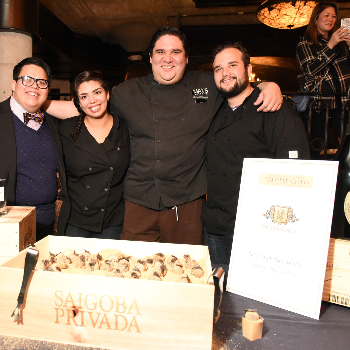 Houston, Truffle Chef Charity Challenge, January 2016, Tasting Room_Chef Michael Pellegrino, Nikki Farias, Cesar Hinojosa, Alejandro Betancourt