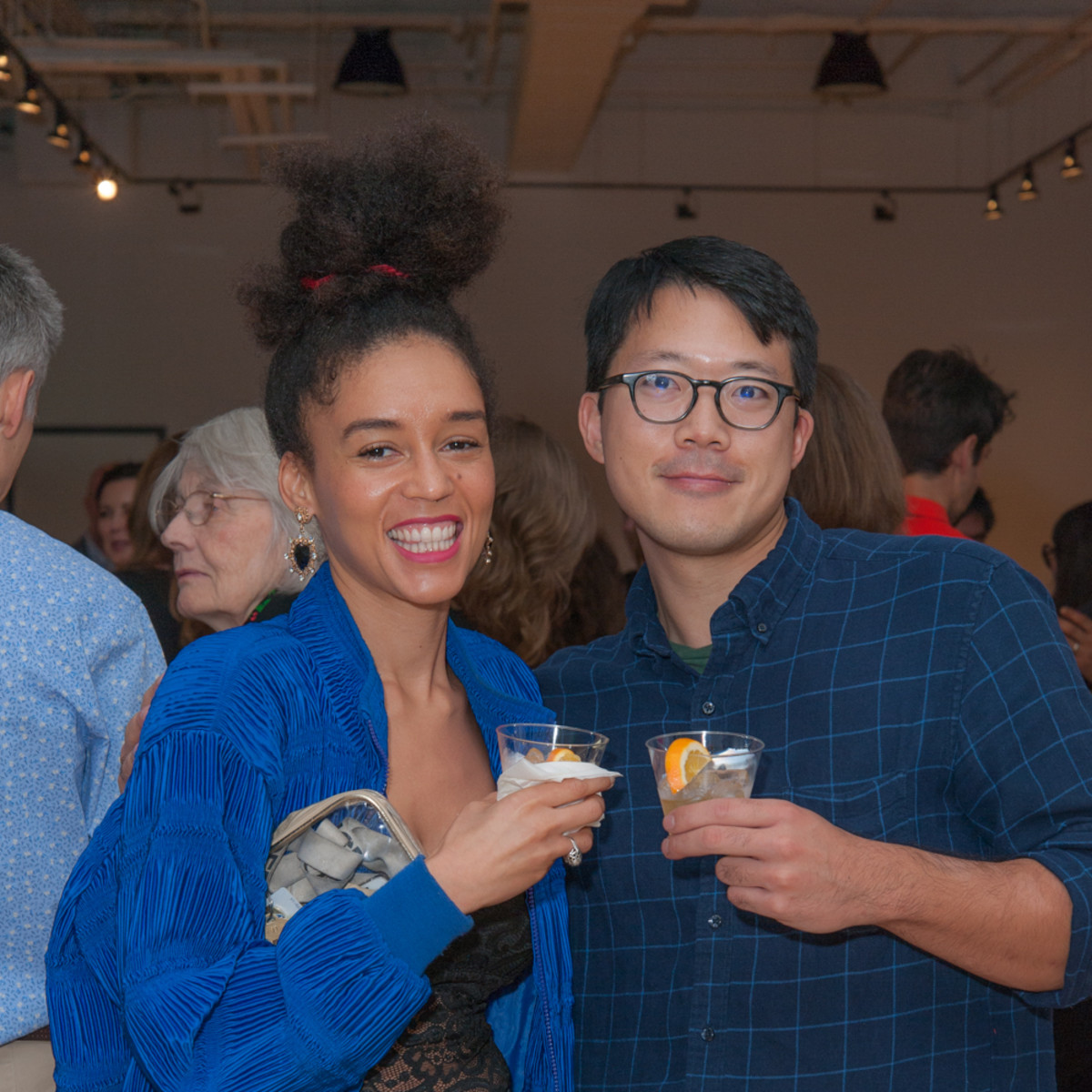 News, DiverseWorks MATCH party, Dec. 2015 Danielle Dean, Kenneth Tam