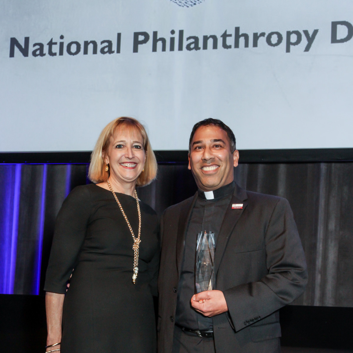 News, National Philanthropy Day Awards, Dec. 2015, Kim Sterling, the Rev. Kevin Storey