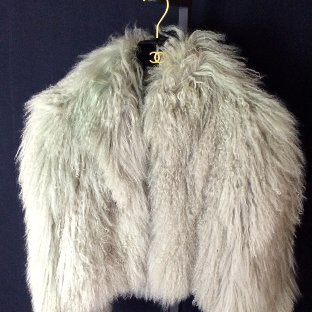 Chanel cropped gray Mongolian lamb fur jacket