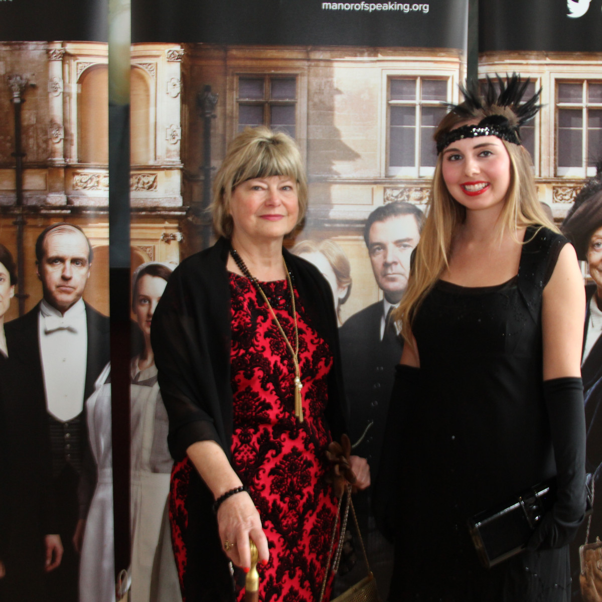 Christine and Kaitlyn Cargol, first place costume contest winners at the noon screening of the Downton Abbey season 6 premiere in The Woodlands