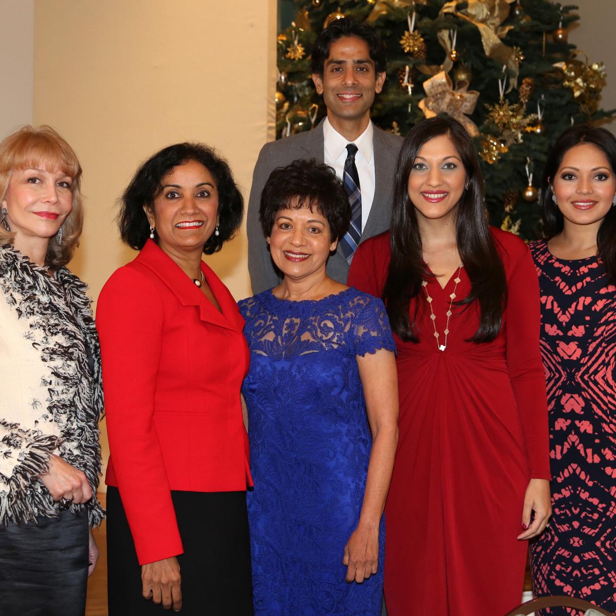 Pratham Holiday Party Susan Boggio, Annu Naik, Dr. Marie Goradia, Dr. Sippi Khurana, and Dr. Sandeep Shah.