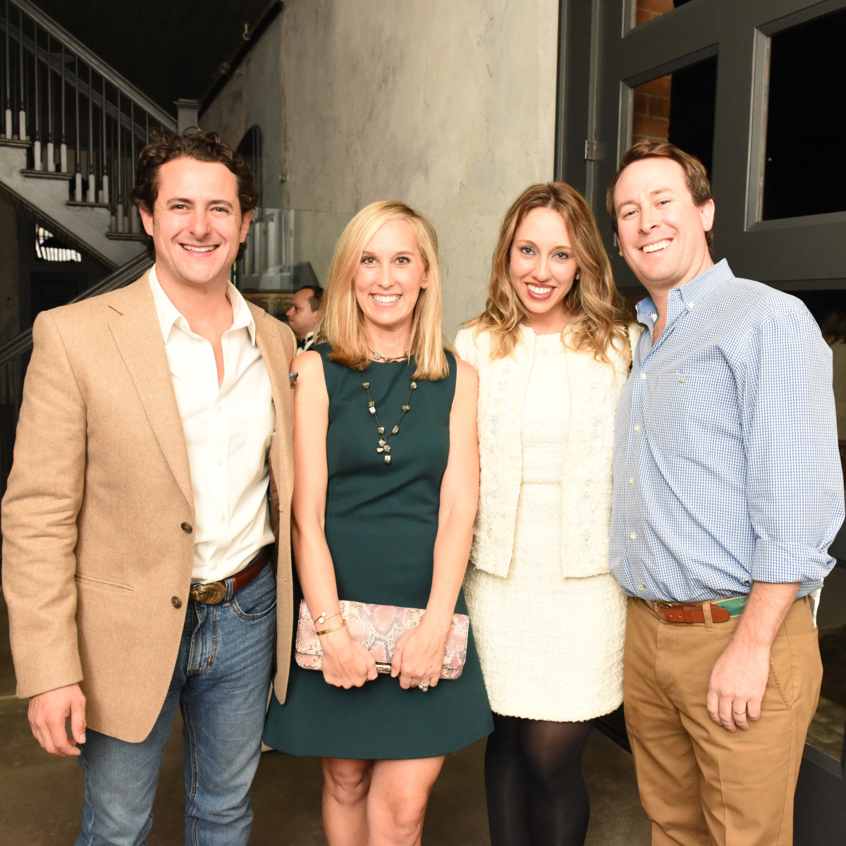 News, Pier & Beam party, Dec. 2015, David Denenburg, Lexie Boudreaux, Frani Denenburg, Aaron Boudreaux.