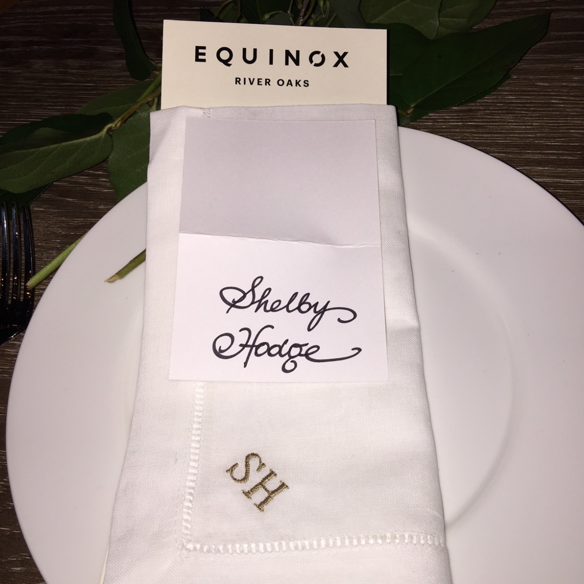 News, Equinox Opening Dinner, Dec. 2015, monogramed napkins