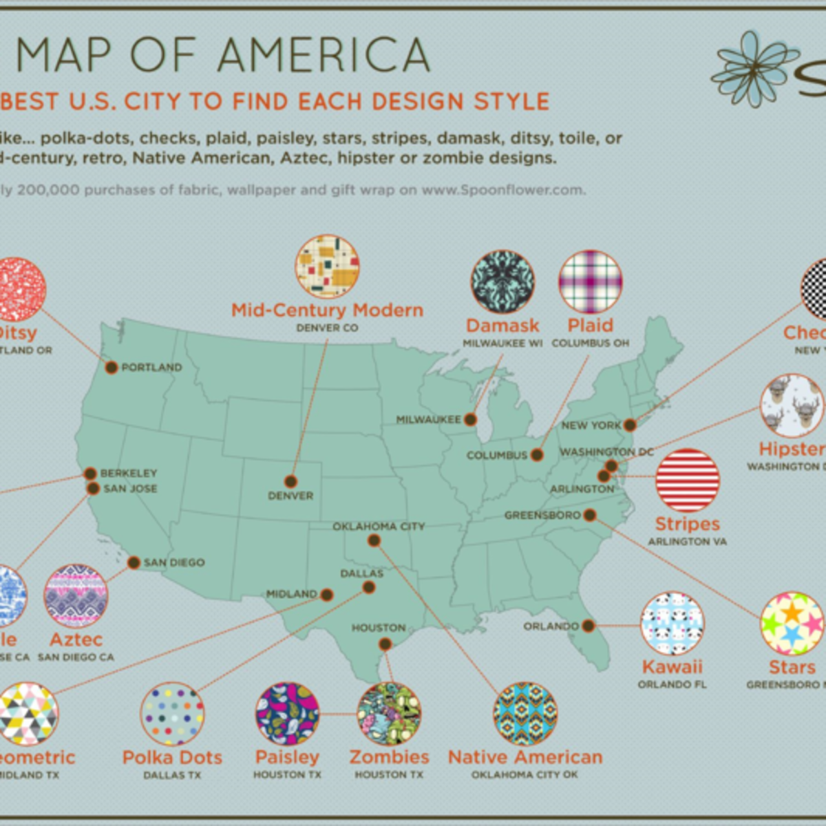 Spoonflower decor map of America