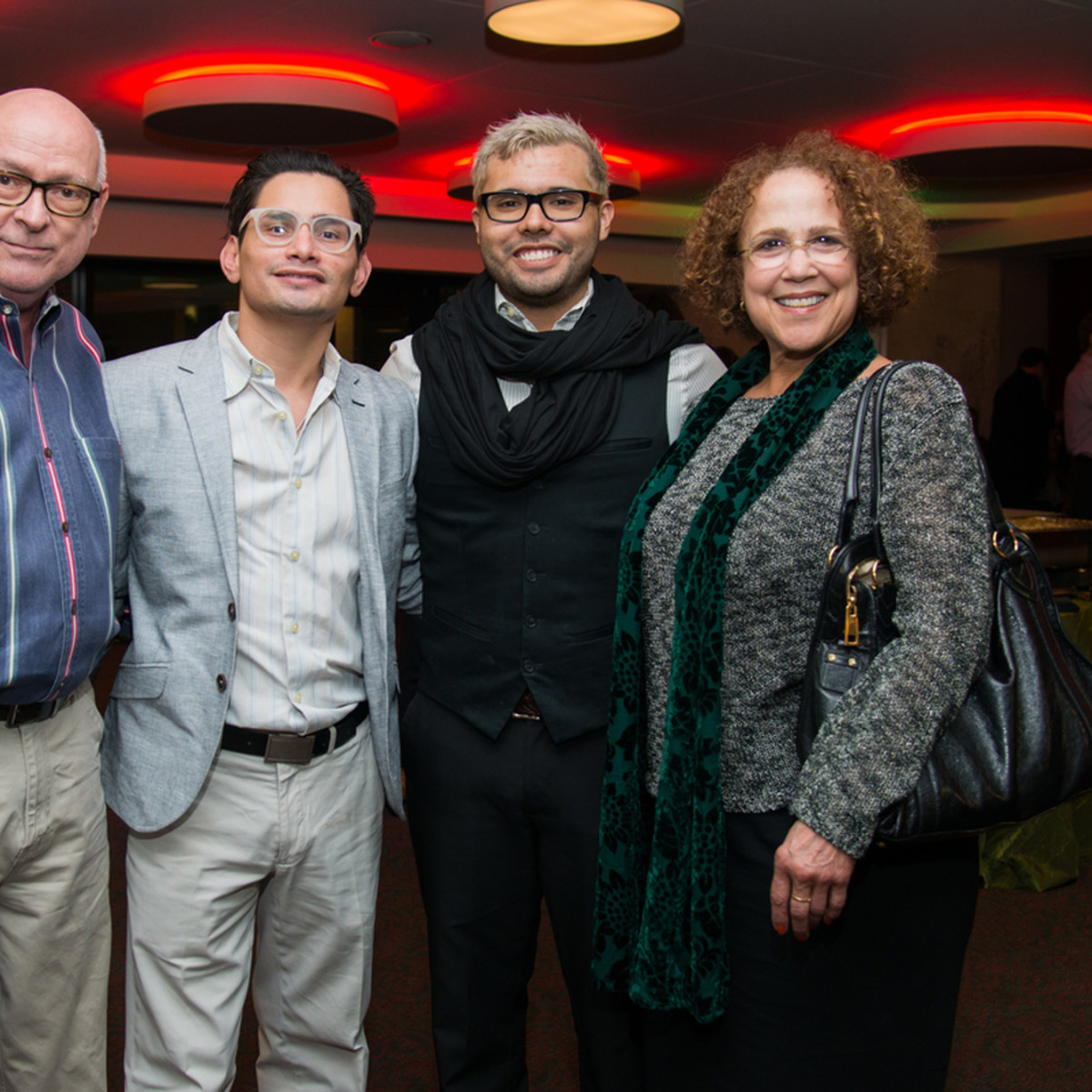 News, Alley Theatre Christmas Tree party, Nov. 2015 Bruce Coy, Paul Martinez, Alex Lopez, Jasmine Walker;