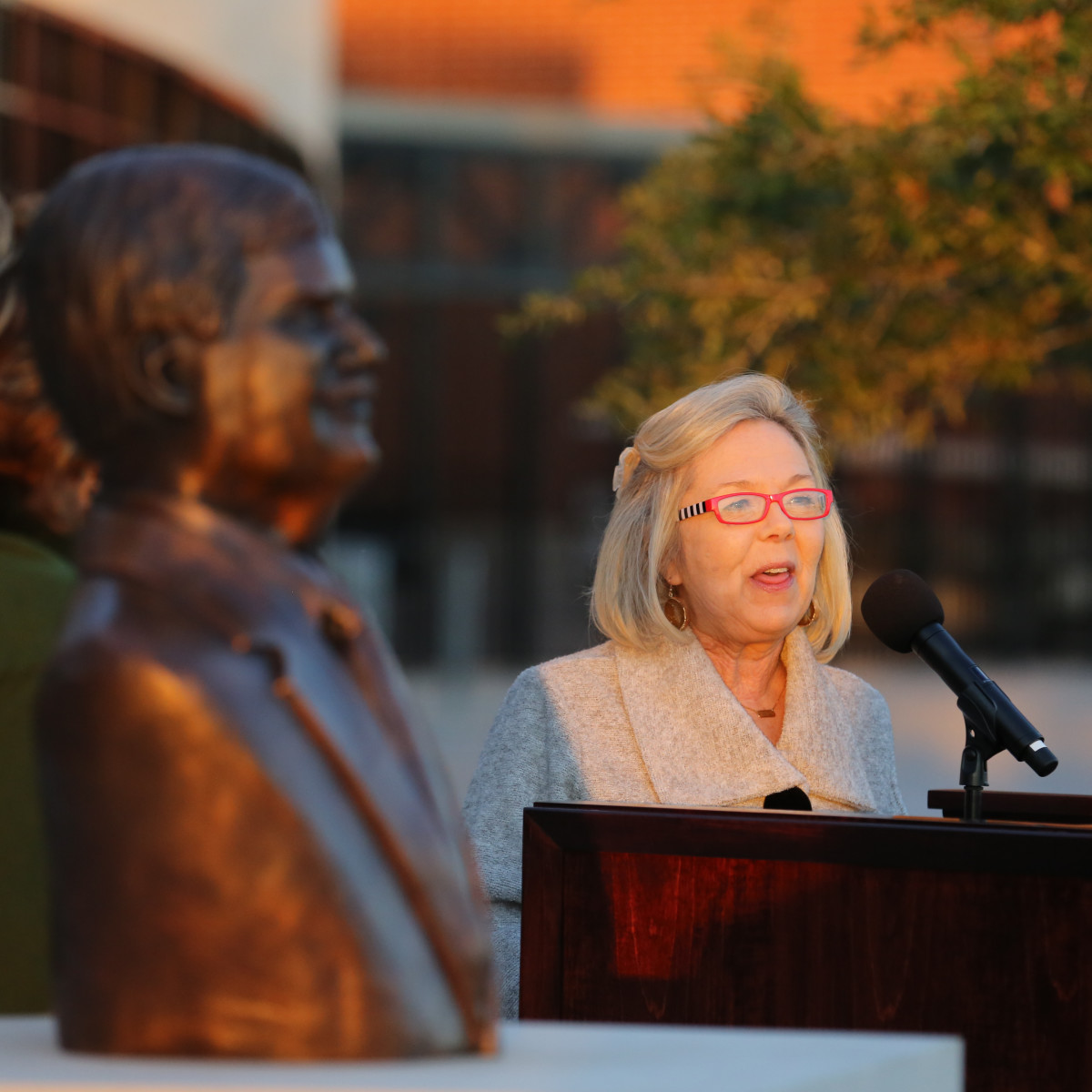 News, Shelby, John Eddie Williams Statue event, Nov. 2015, Sharon Connally Ammann