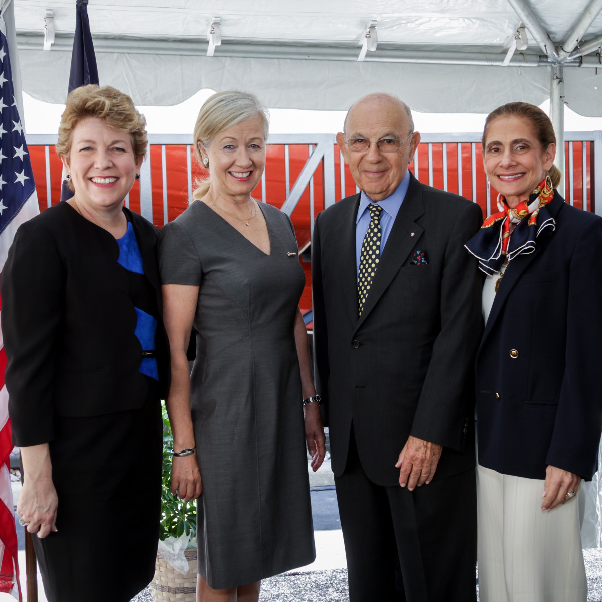 Holocaust Museum Houston rededication HMH Executive Director Kelly Zúñiga, Consul for the Kingdom of Denmark Anna Thomsen Holliday, Former Ambassador for the Kingdom of Denmark Ole Philipson, HMH Board Chair Gail Klein.