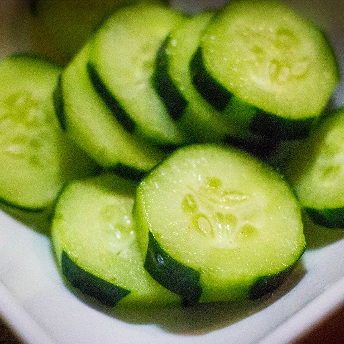 Photo of cucumber slices on a plate