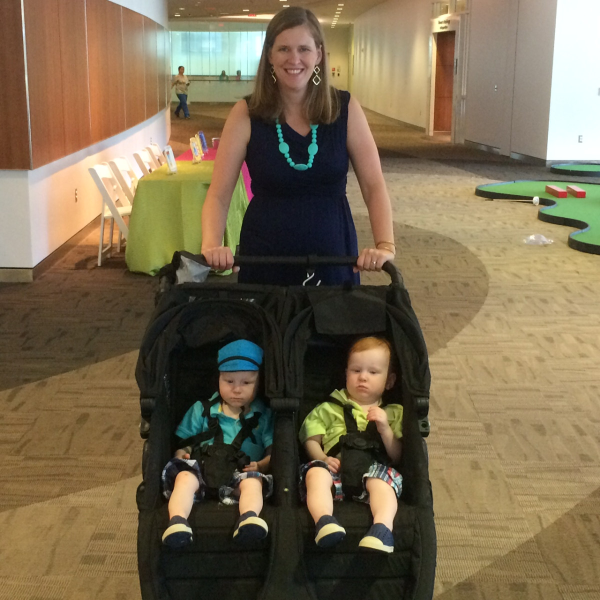 Samantha Brantley with twins at the Bad Pants fashion show