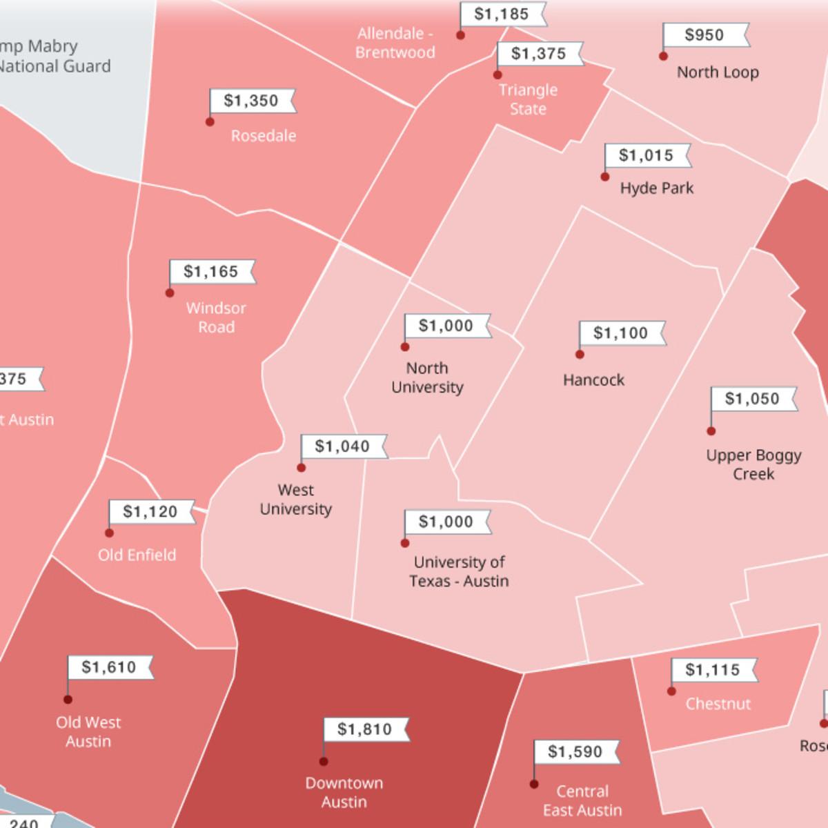 Austin rent price map Zumper.com