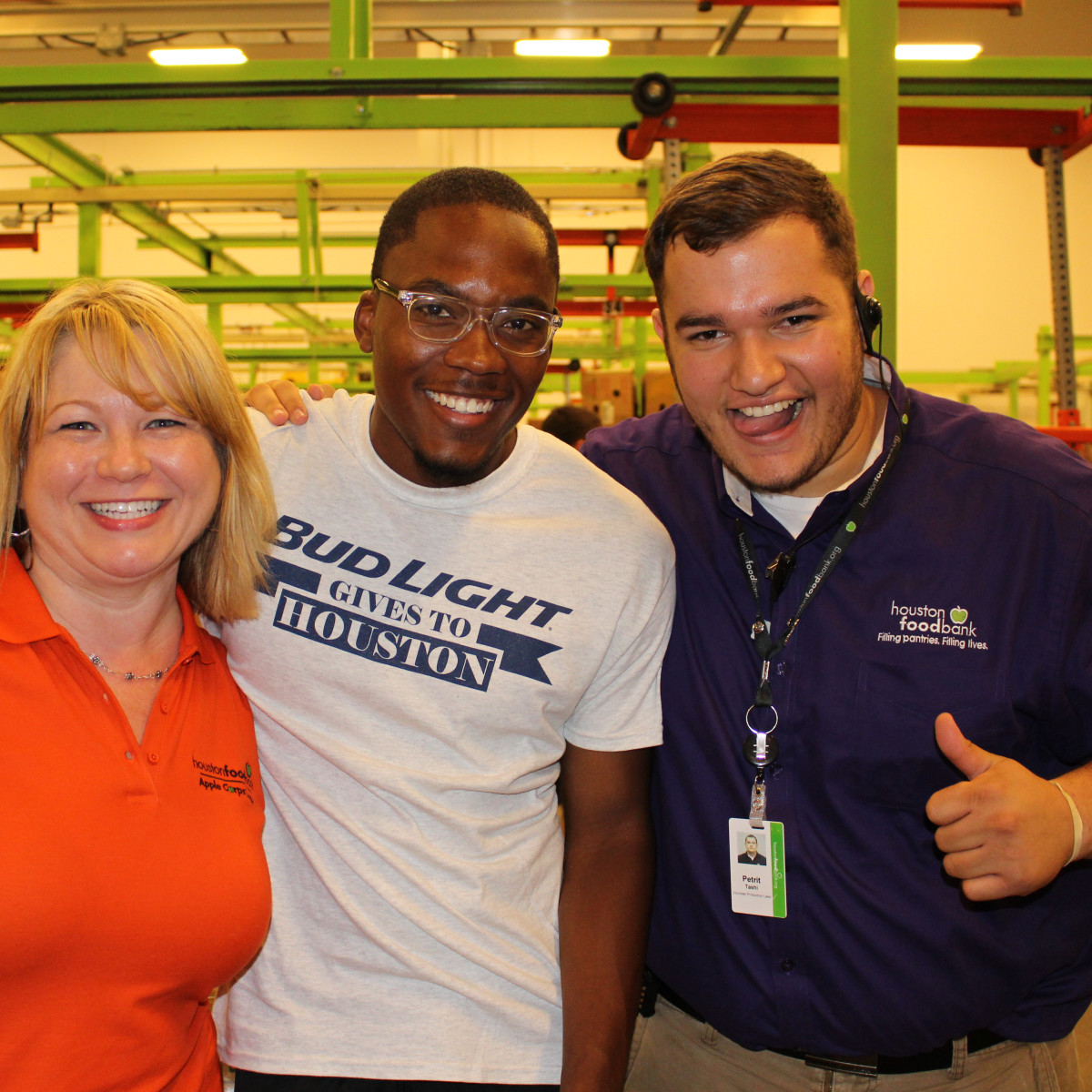News, Shelby, Silver Eagle Distributors at Food Bank, July 2015 , Laura Toole, Inael Hopkins, Petrit Tashi