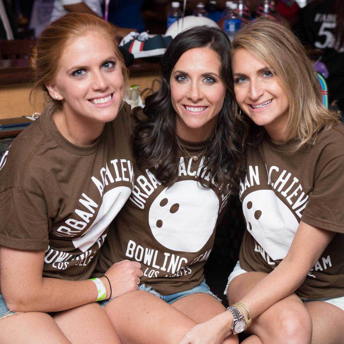 Chester Pitts bowling event Amber Hartland, Hannah McNair, Sarah Hartland