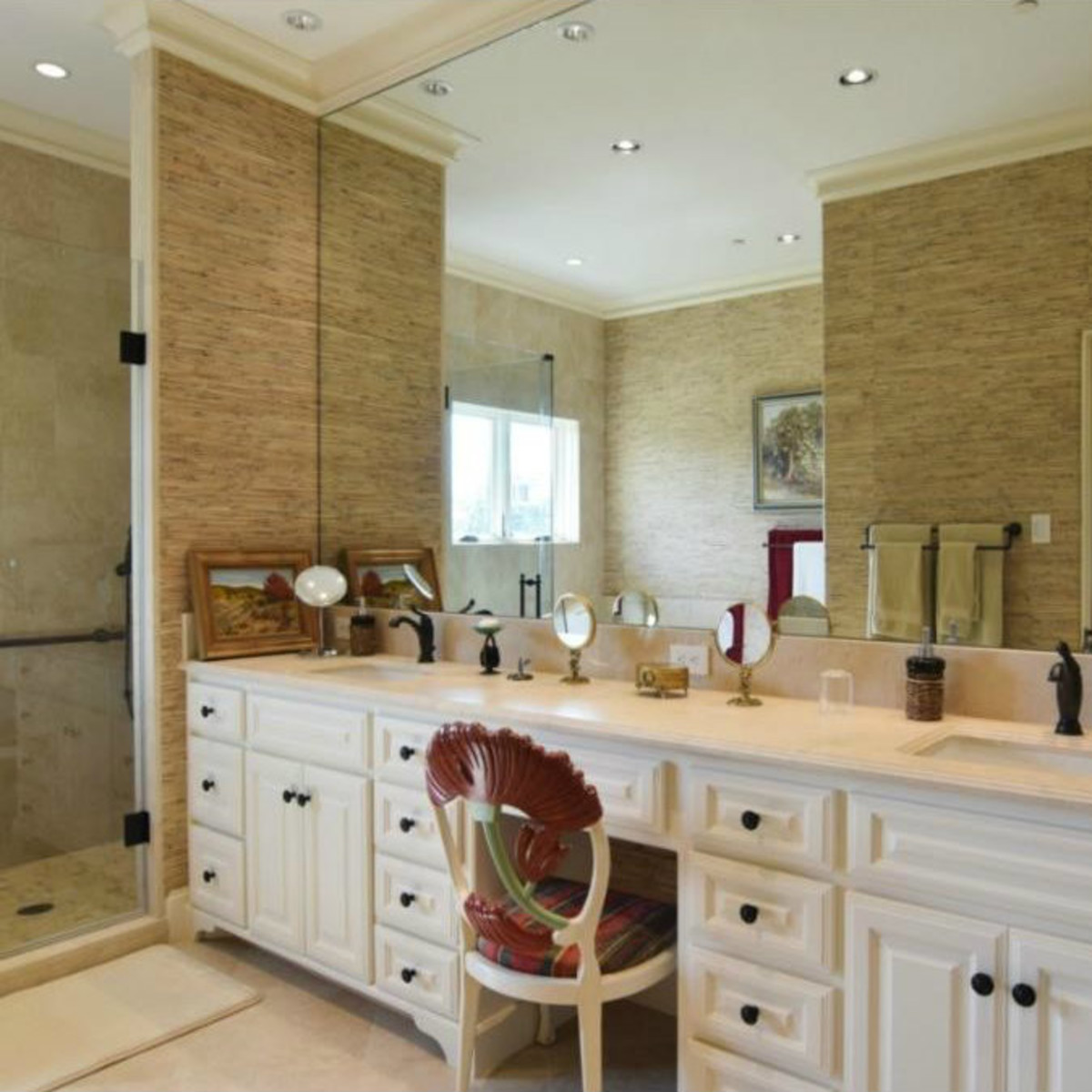 Master bath vanities at 12258 Creek Forest Dr. in Dallas