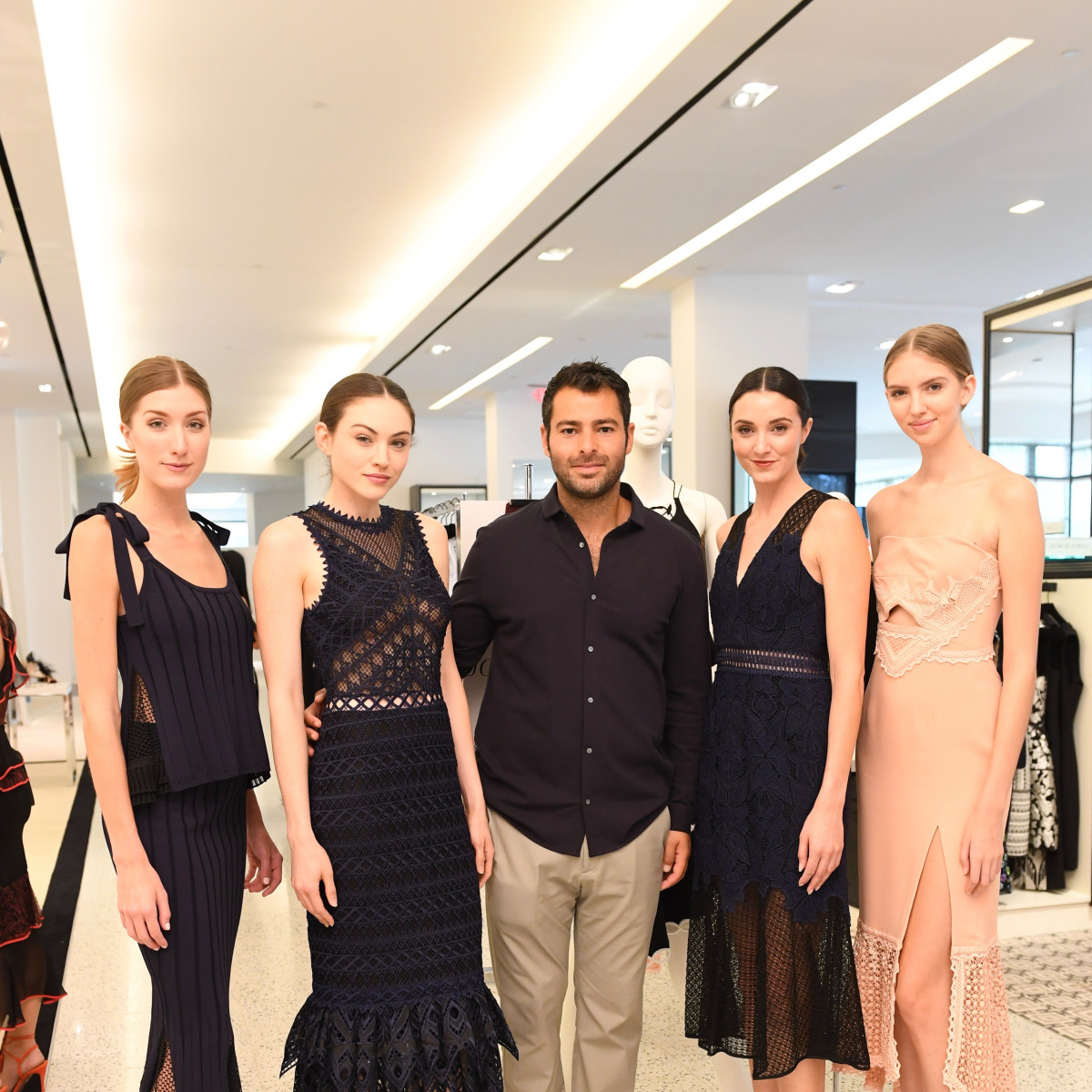 Jonathan Simkhai with models at Tootsies fashion show