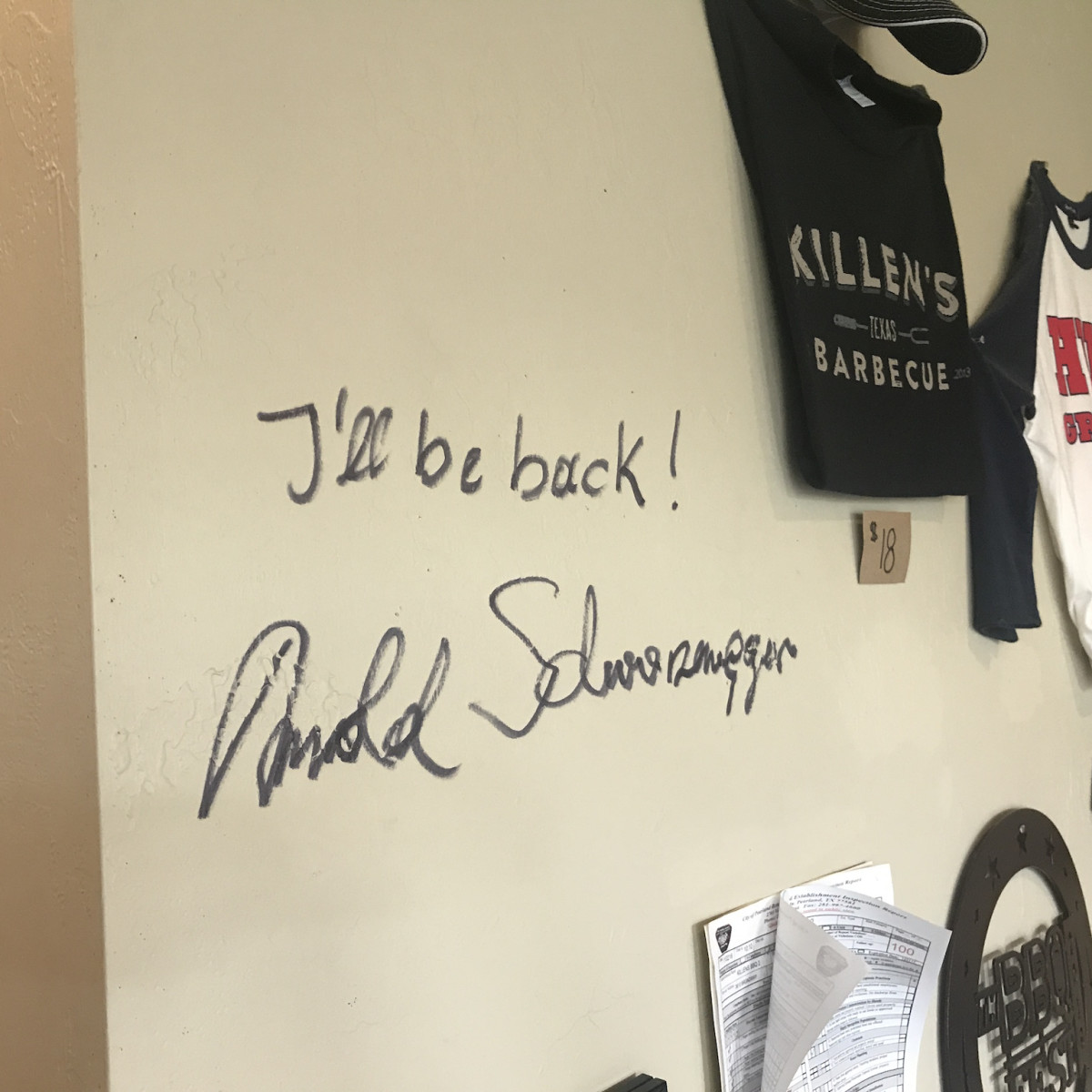 Killen's Barbecue Arnold Schwarzenegger autograph