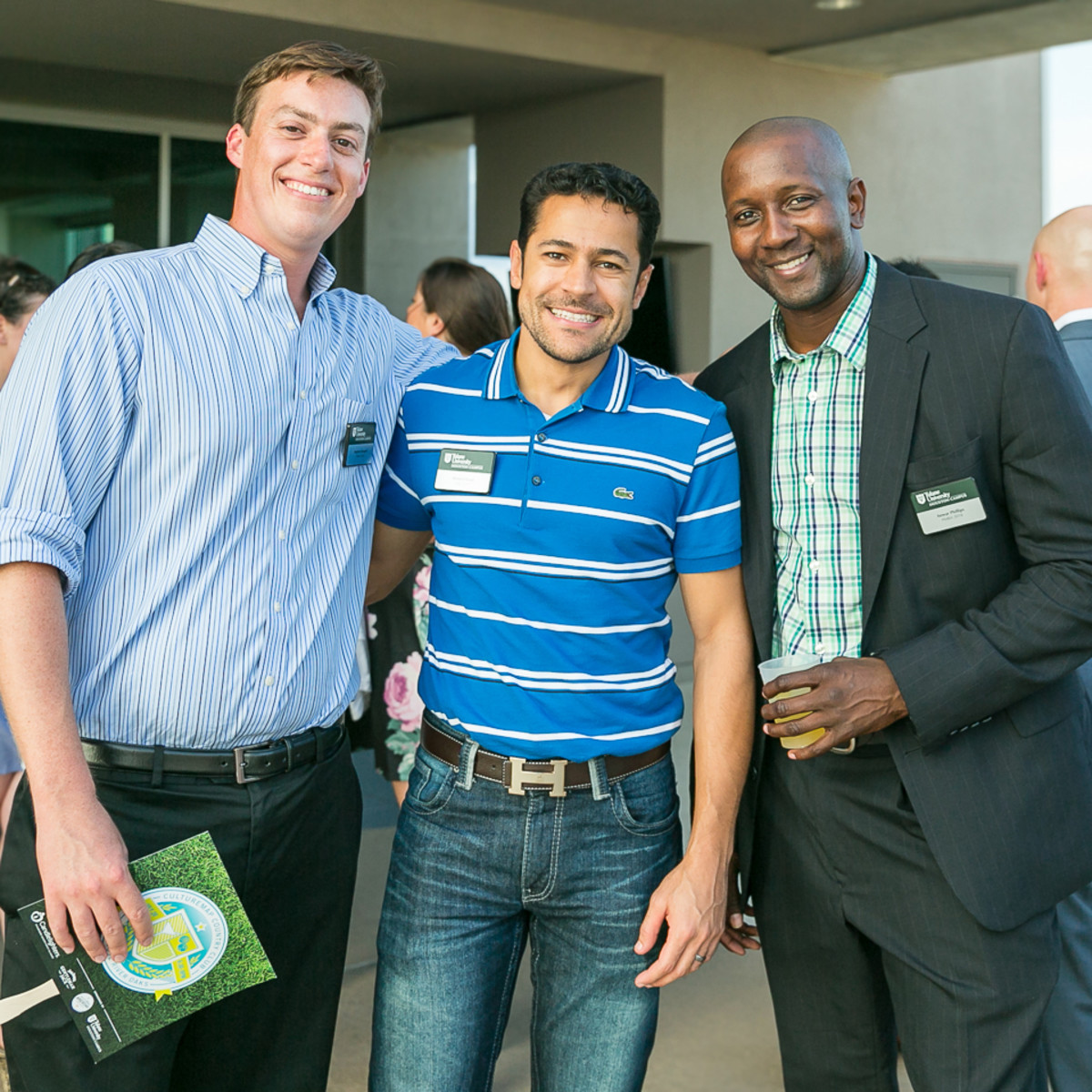 Stephen Samperi, Ahmed Elsaid, Anwar Phillips representing Tulane at CultureMap Country Club Social