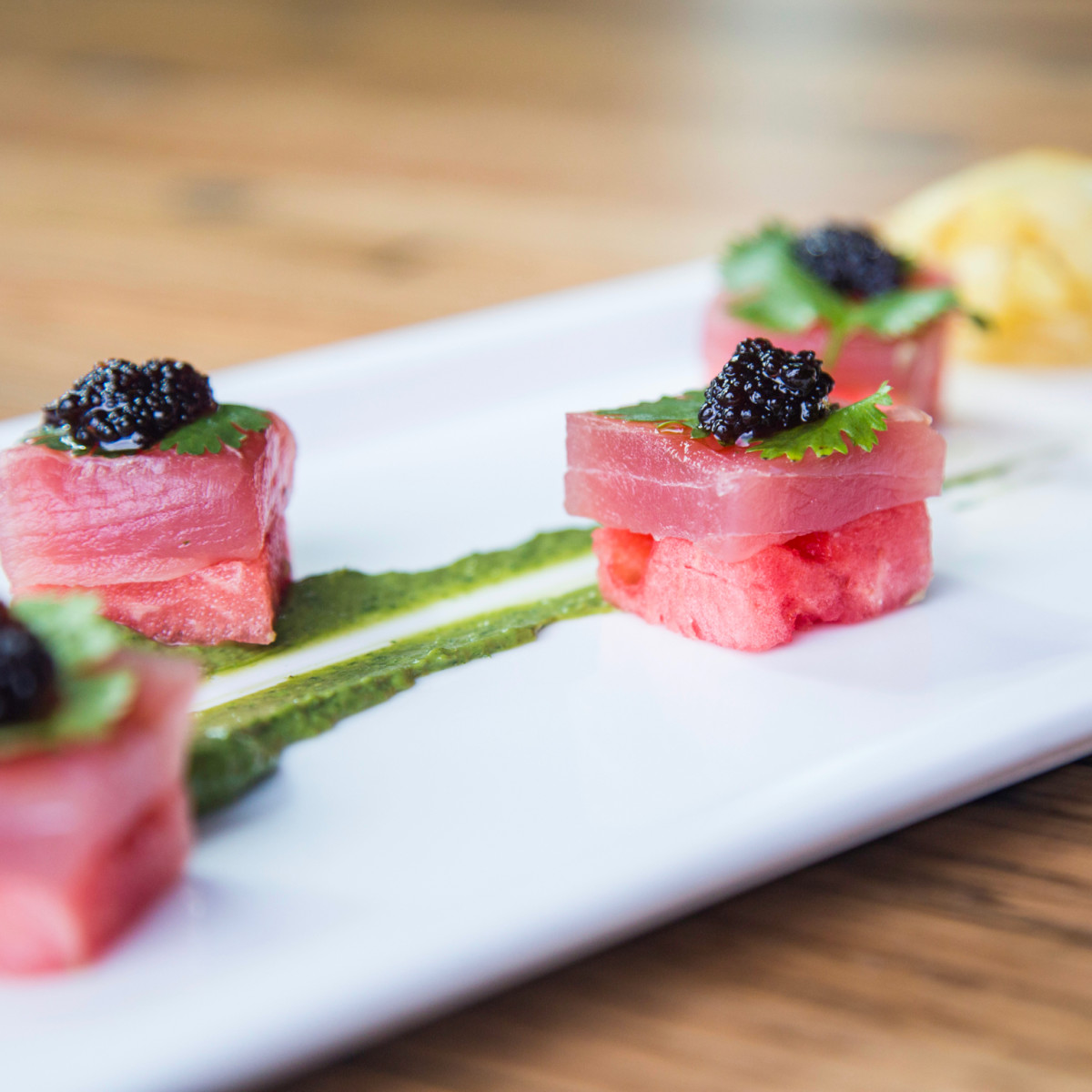 A'Bouzy watermelon and tuna sashimi