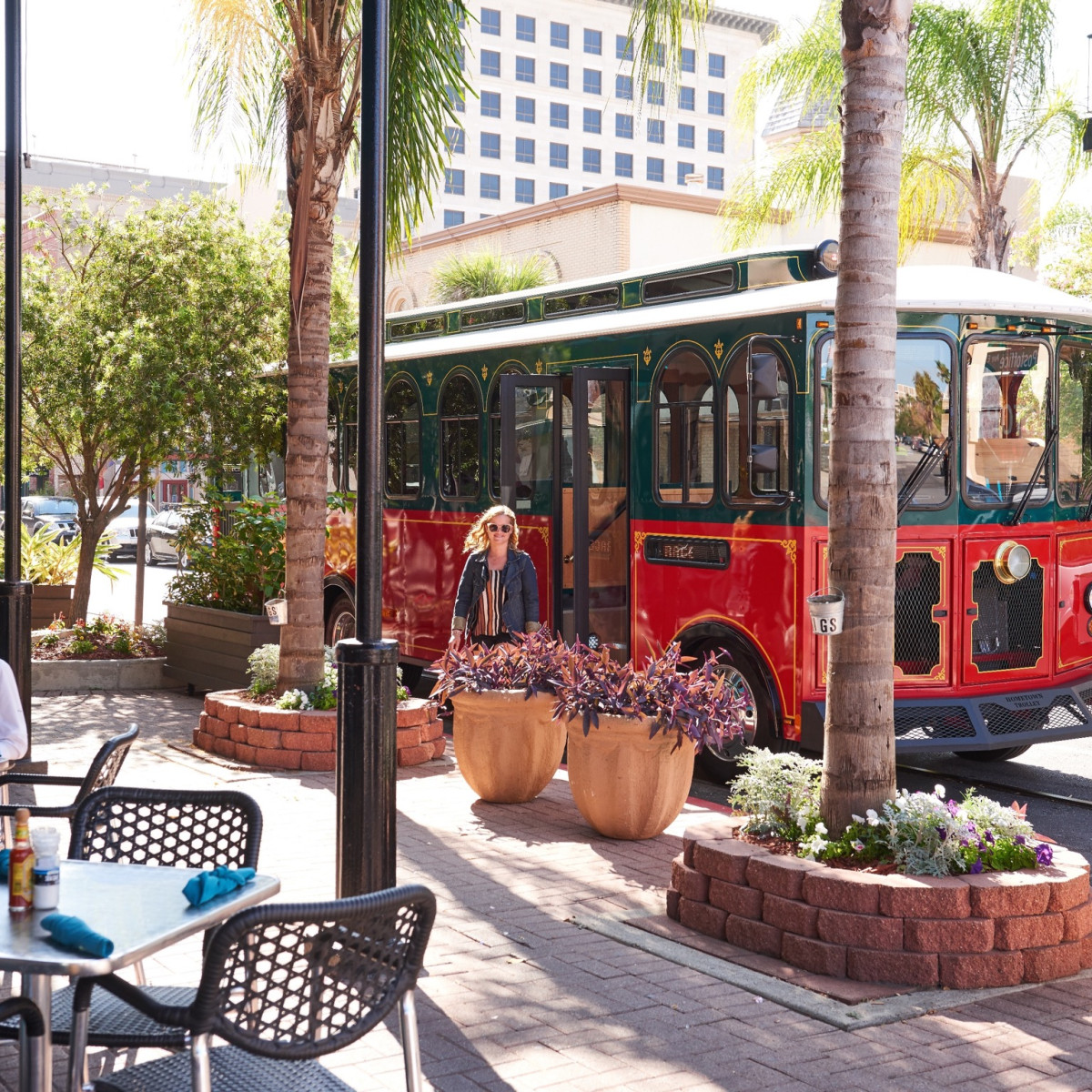 Trolley on Post Office Street in Galveston