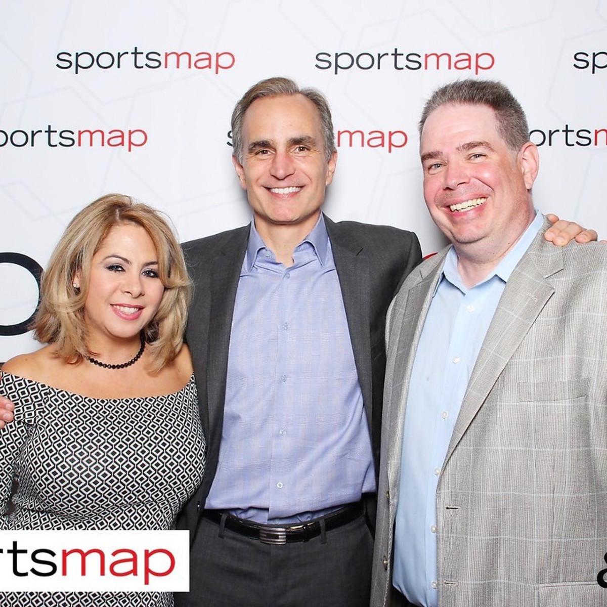 SportsMap launch party, Esmeralda Perez, David Gow, Craig Larson, October 2017