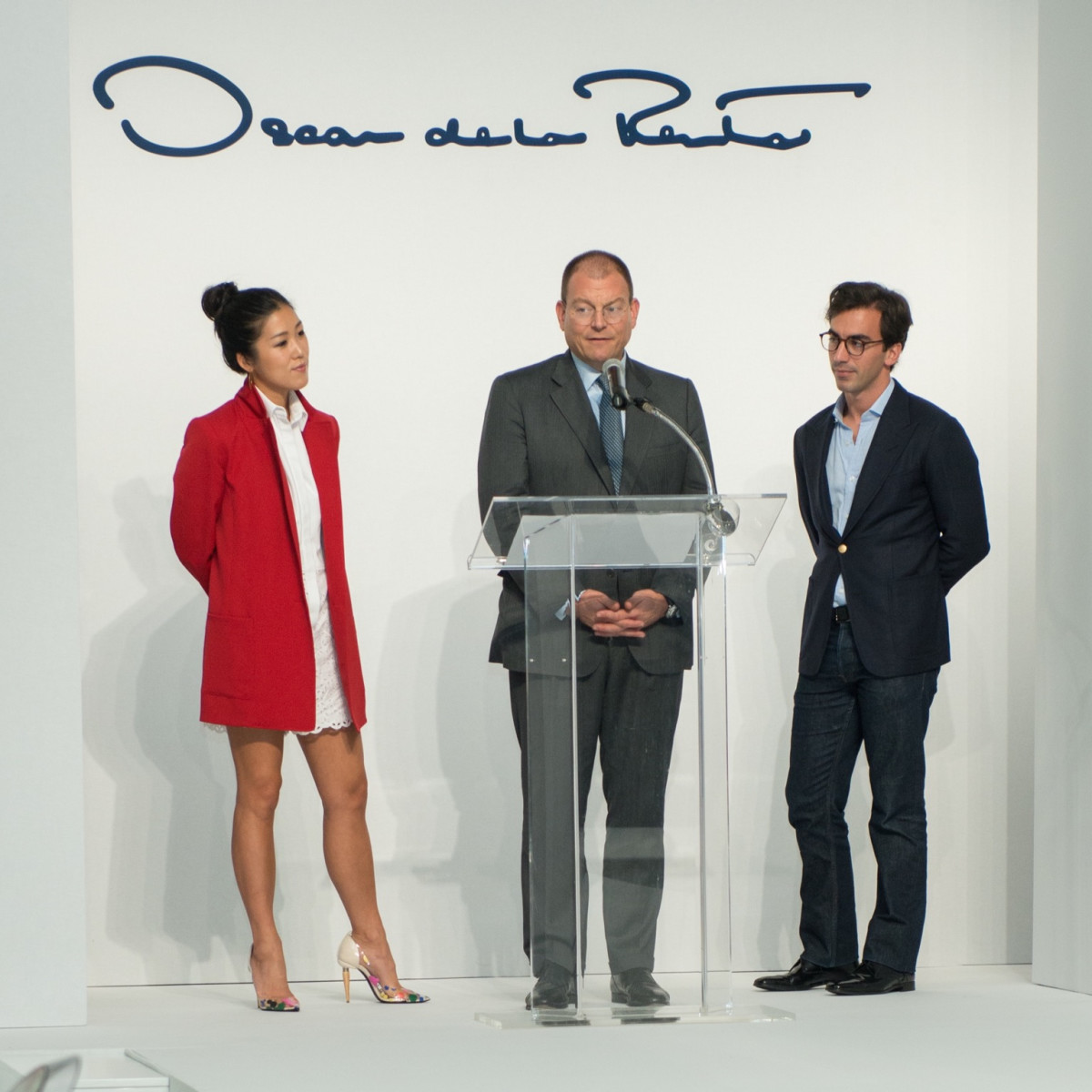 Laura Kim, Alex Bolen, Fernando Garcia at Oscar de la Renta fashion show at MFAH