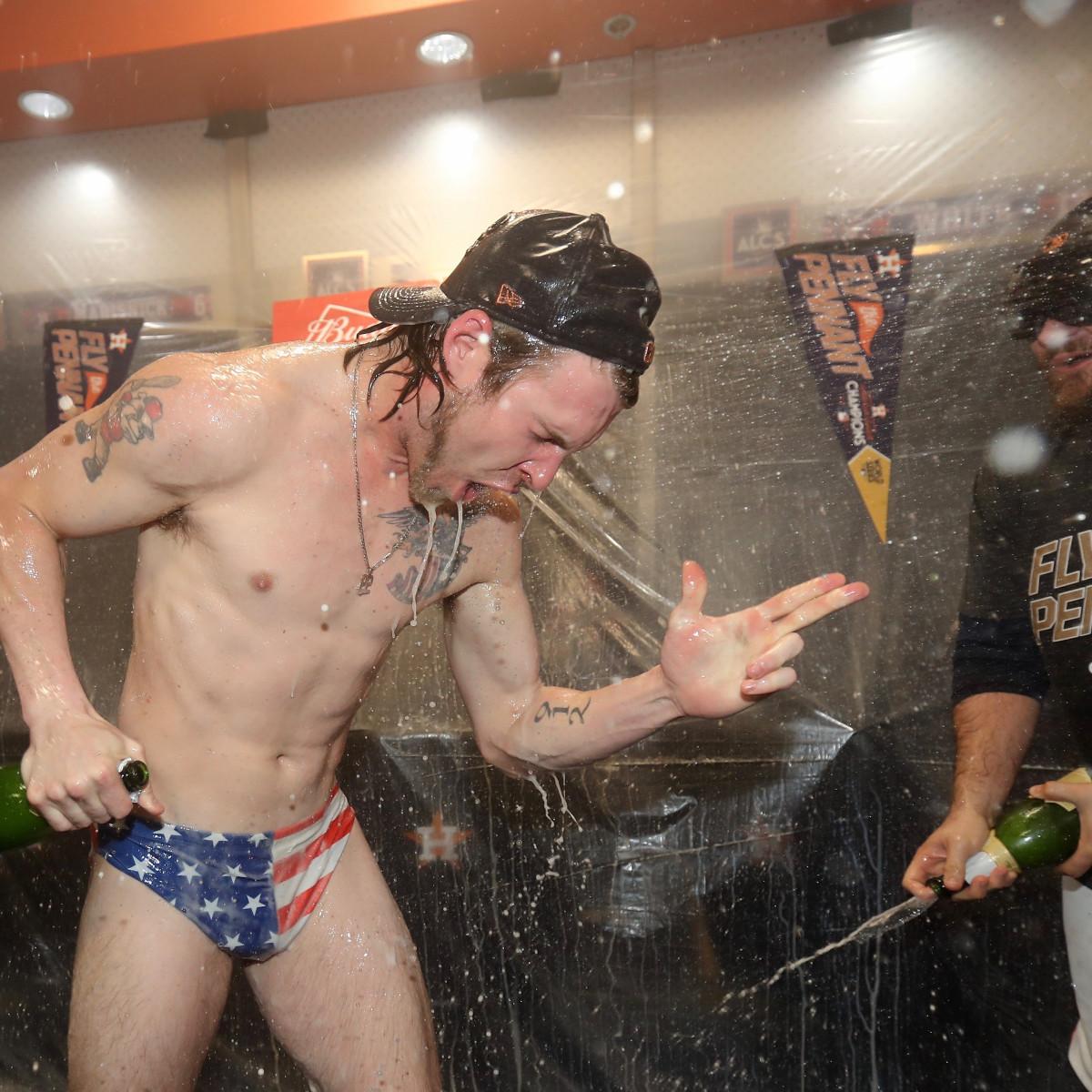 Astros Josh Reddick celebration after ALCS win over Yankees at