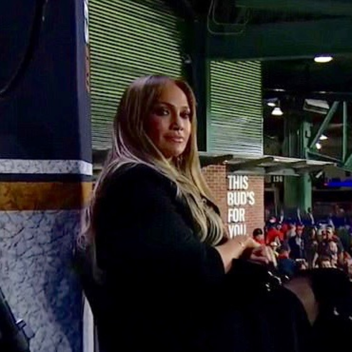 Jennifer Lopez at World Series FOX Sports booth