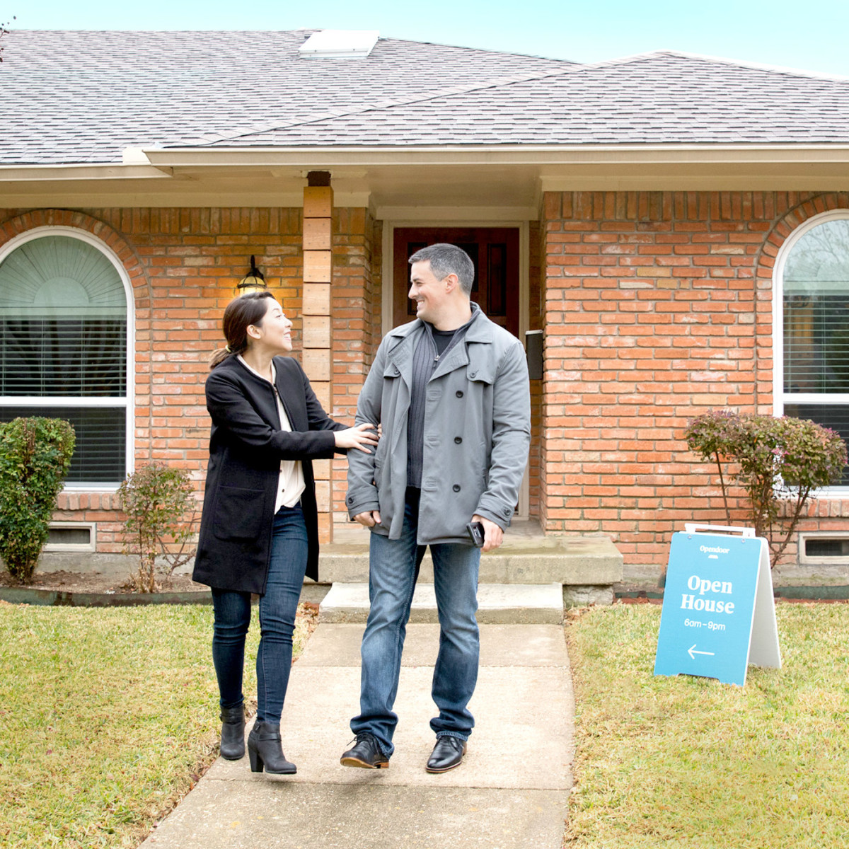 Couple viewing an Opendoor house for sale