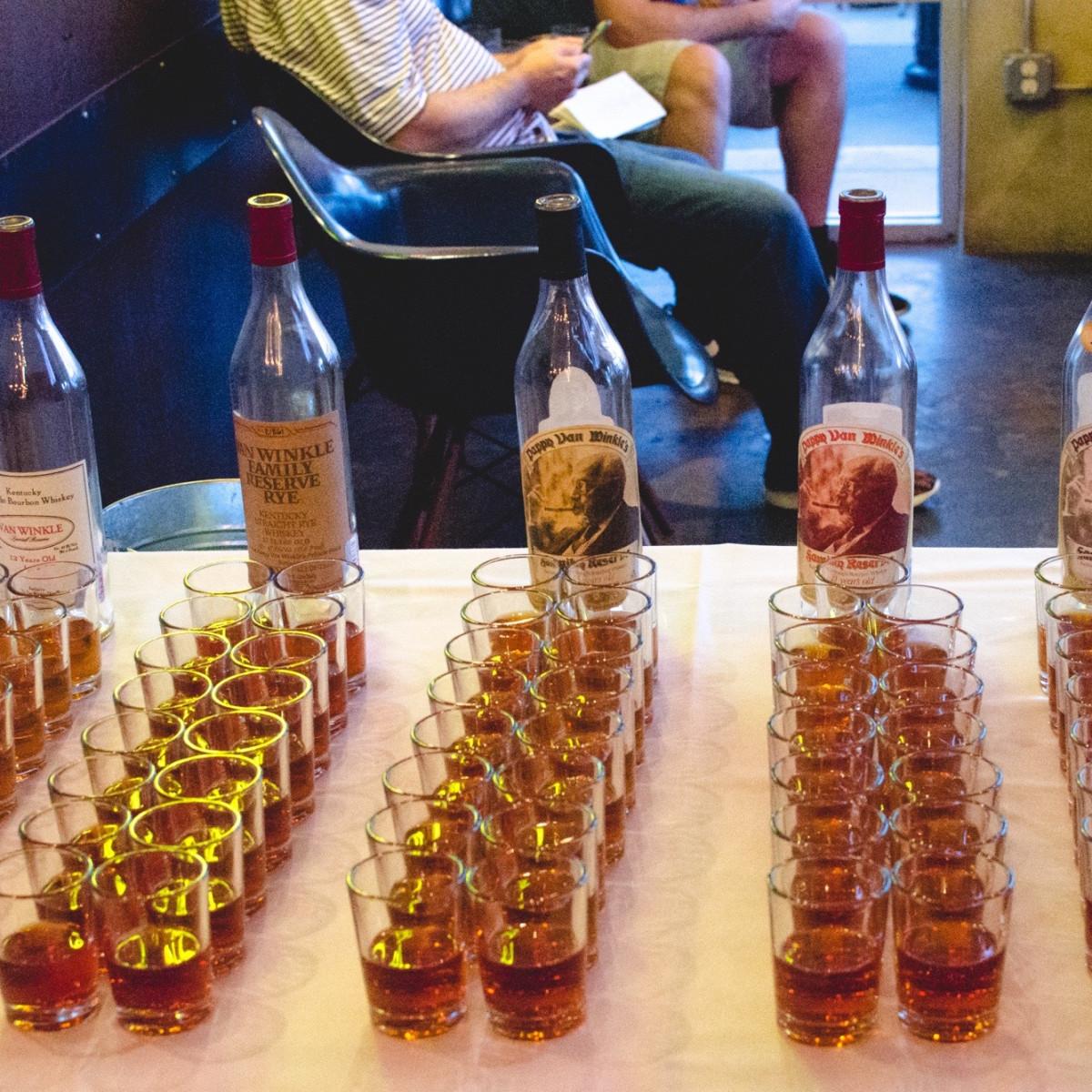 Eight Row Flint Pappy Van Winkle tasting bottles
