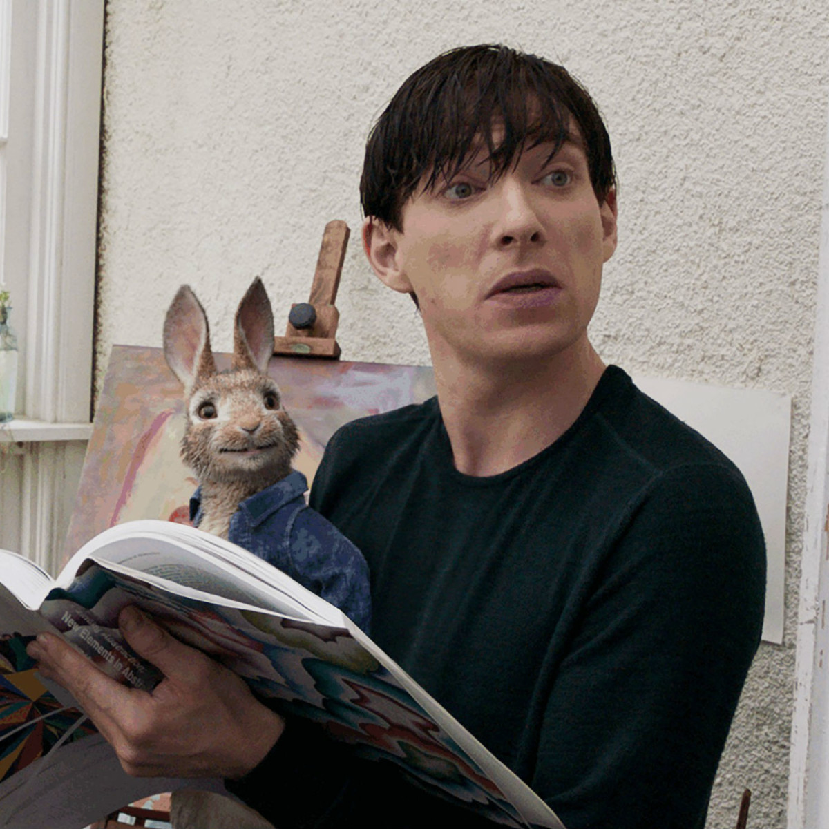 Peter Rabbit (James Corden) and Domhnall Gleeson in Peter Rabbit