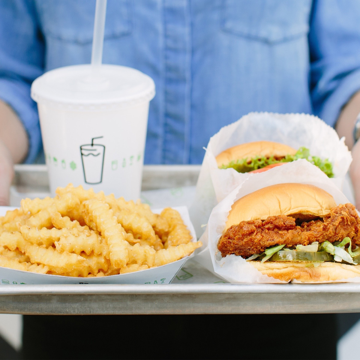 Shake Shack chicken sandwich tray