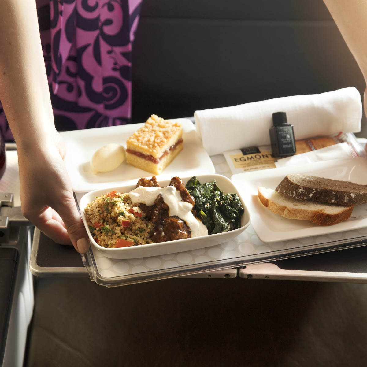Air New Zealand lamb dinner