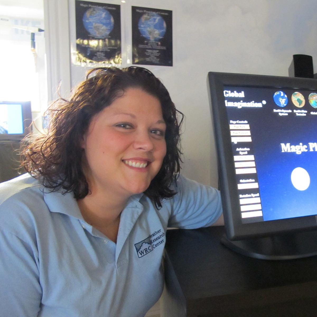 News_Katie_Weather Museum_Executive Director_Meteorologist_Maureen Maiuri_in her favorite room in the Weather Museum_The Weather Sphere