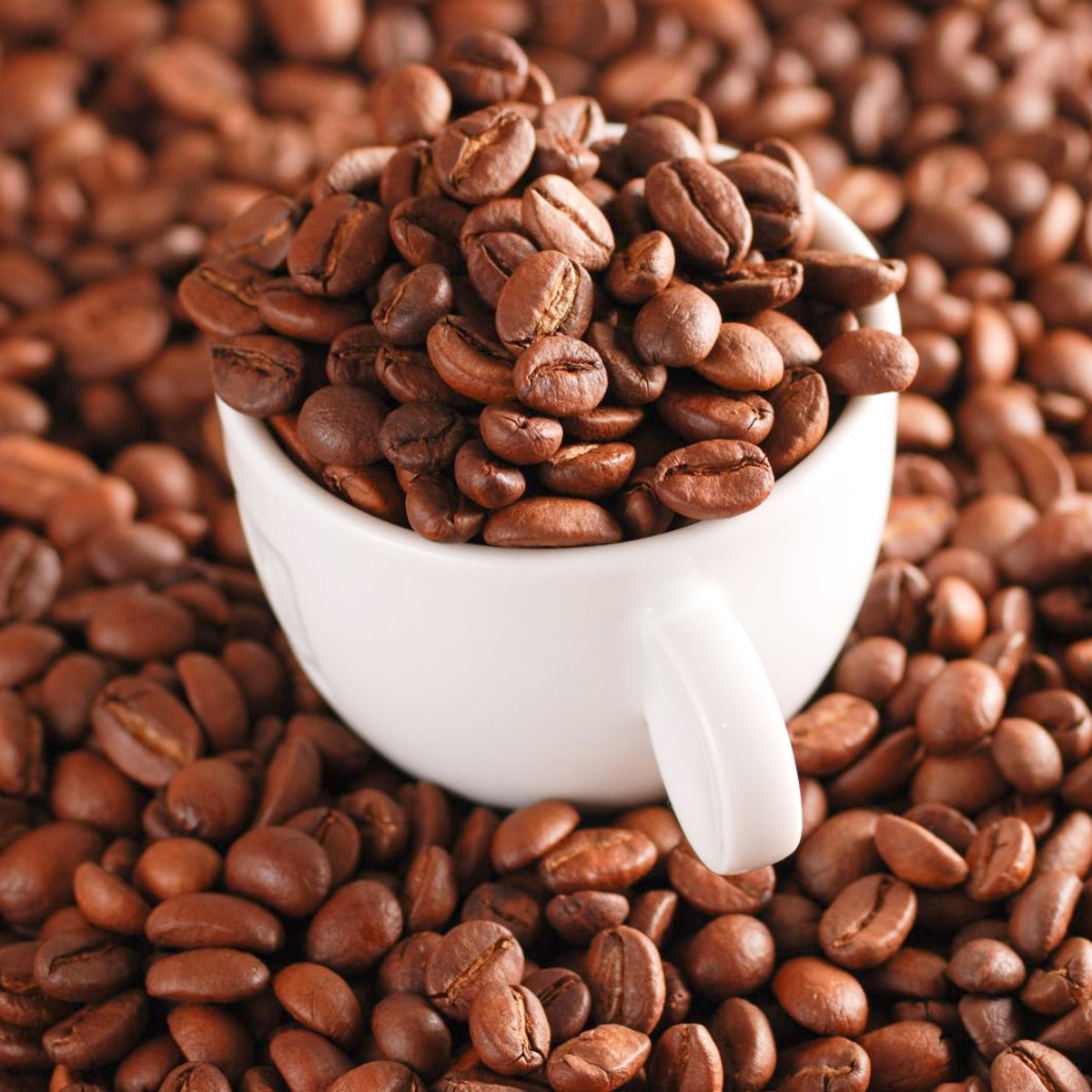 Coffee beans, cup mug