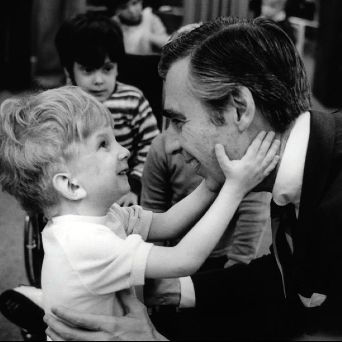 Disabled boy and Fred Rogers in Won't You Be My Neighbor?