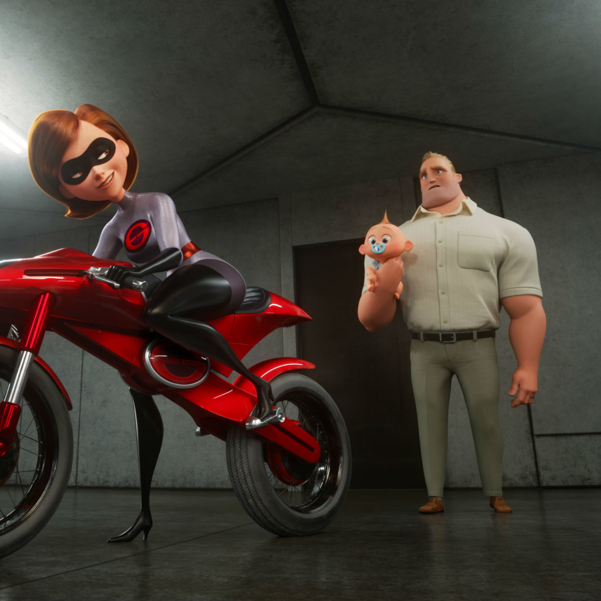 Elastigirl, Jack-Jack, and Mr. Incredible in Incredibles 2