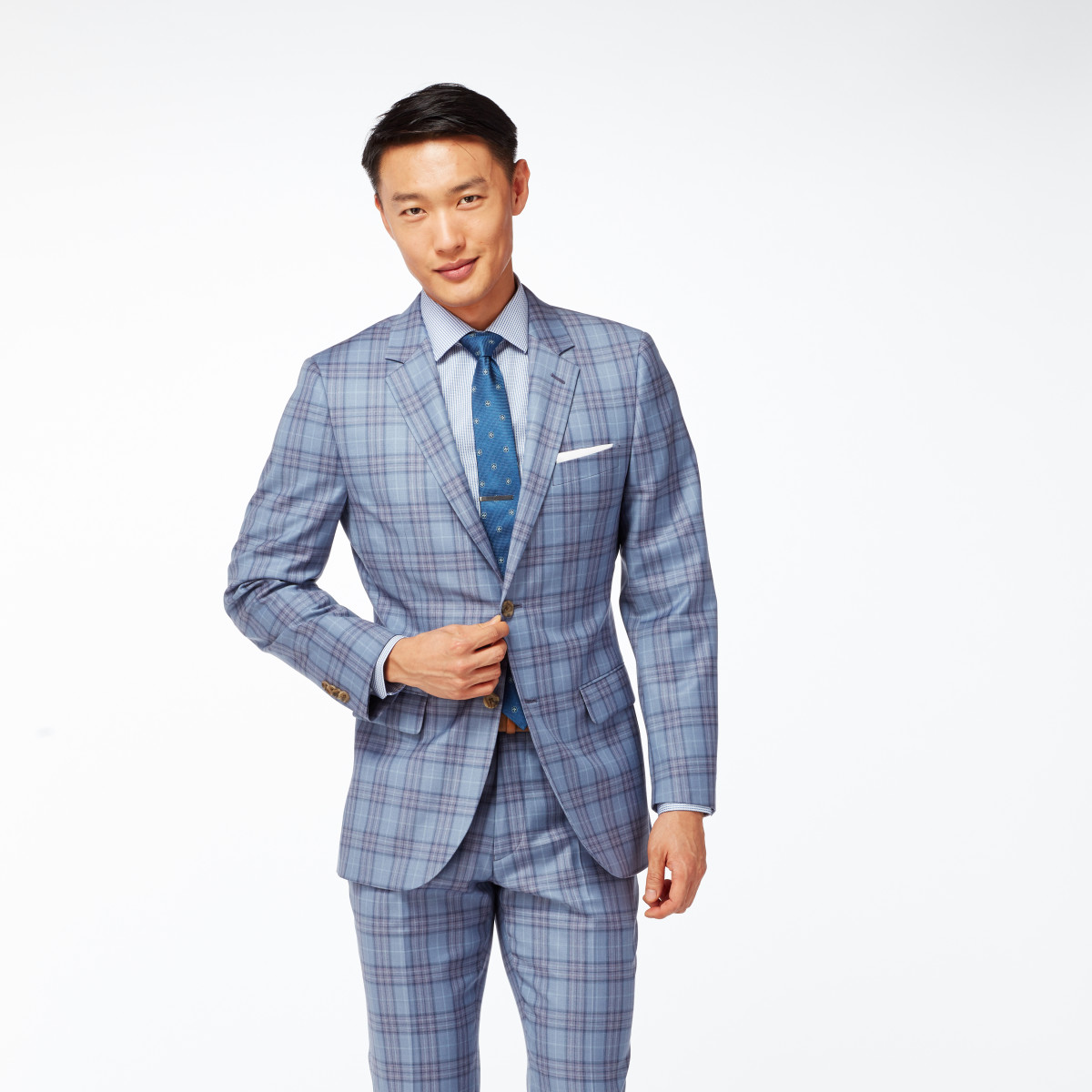 Gray and Mulberry Check Suit