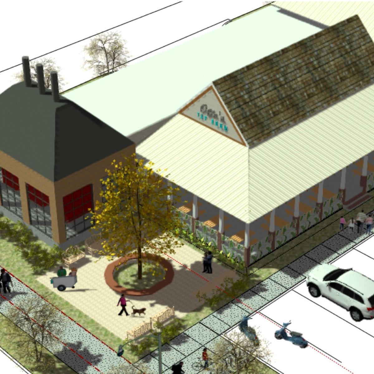 Otto's Barbecue Aerial rendering