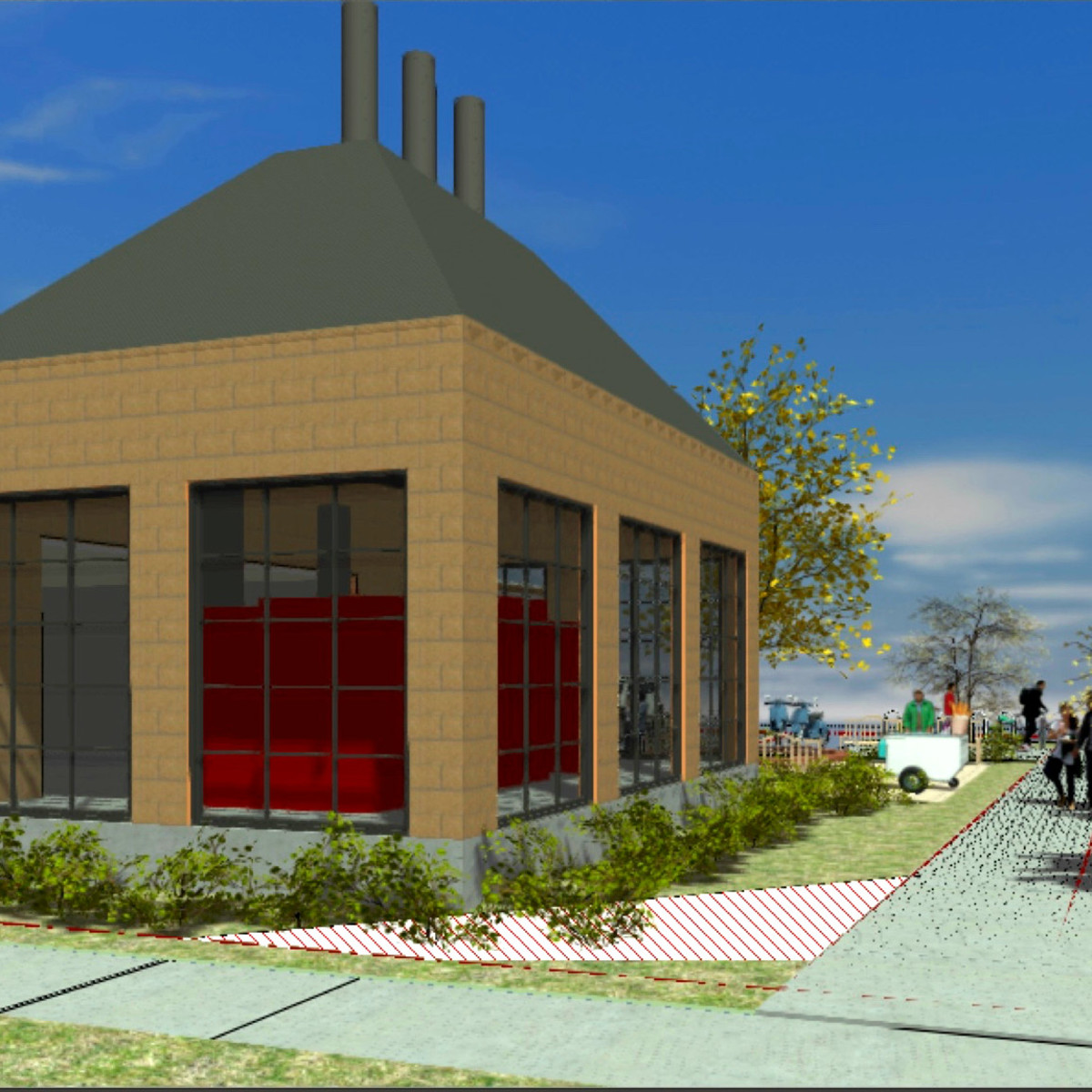 Otto's Barbecue smokehouse rendering