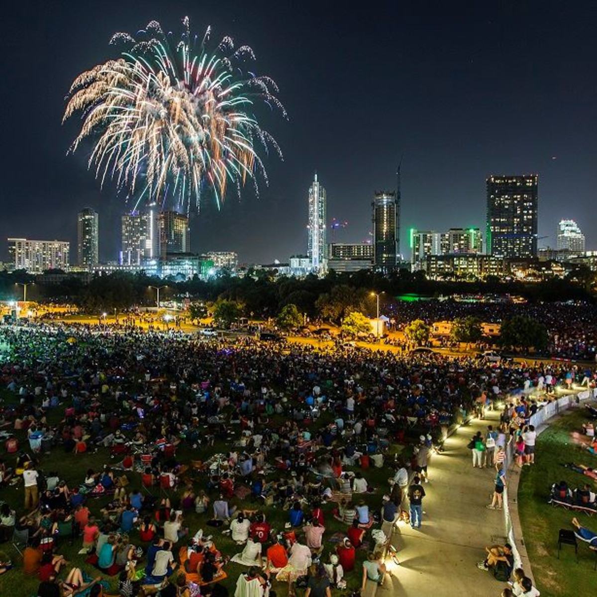 Austin skyline fourth of july fireworks