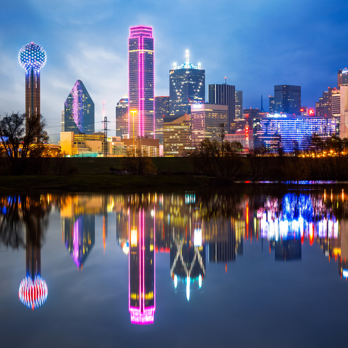 Dallas skyline with reflection