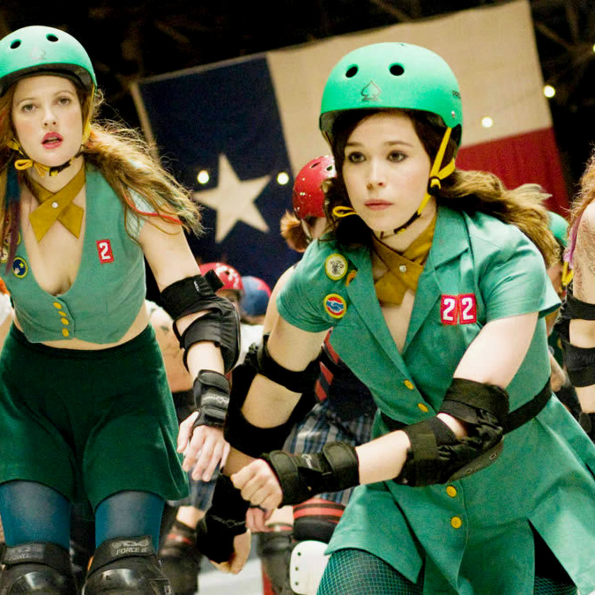 Whip It movie still roller skate Ellen Page Drew Barrymore