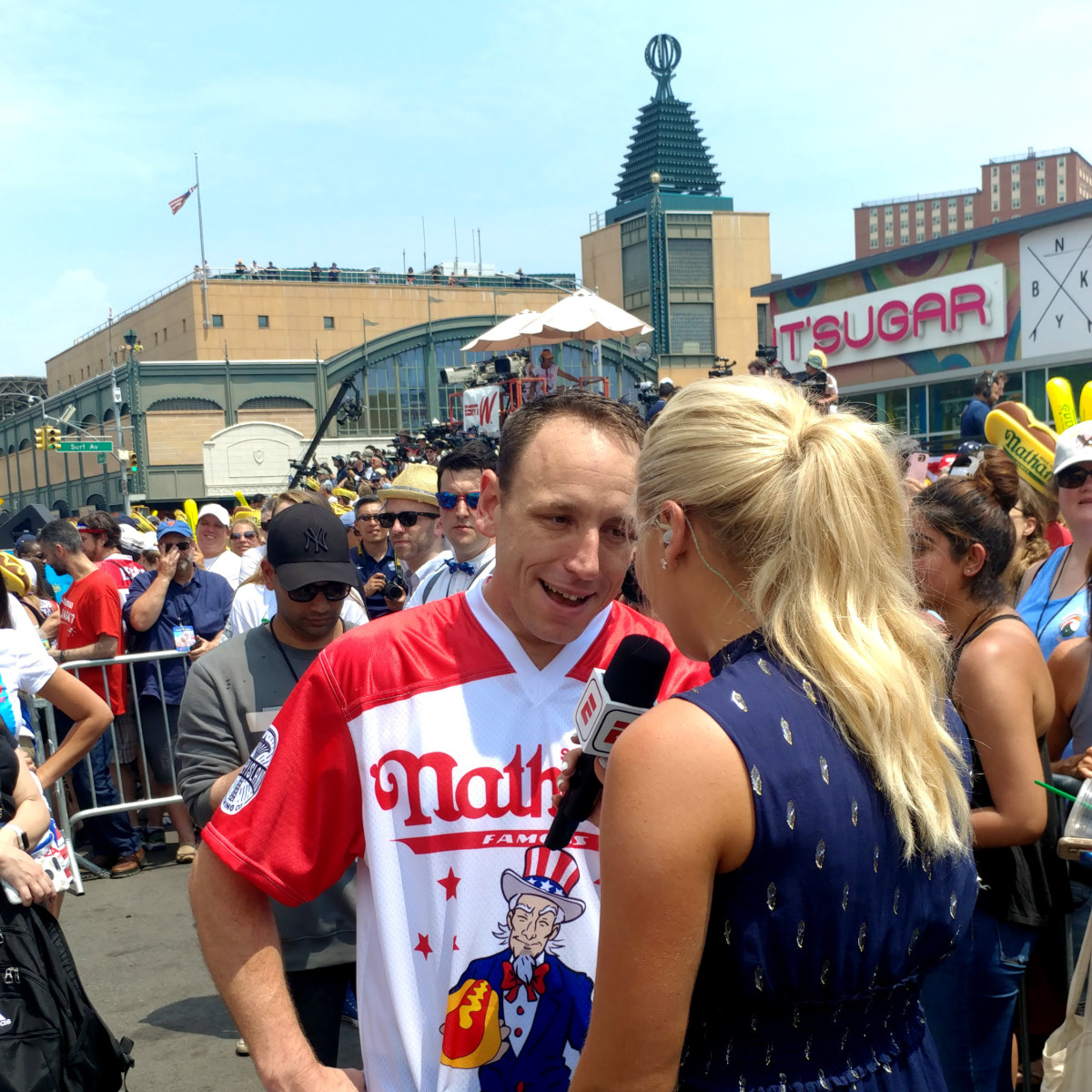 Joey Chestnut 2018 hot dog eating contest interviewed