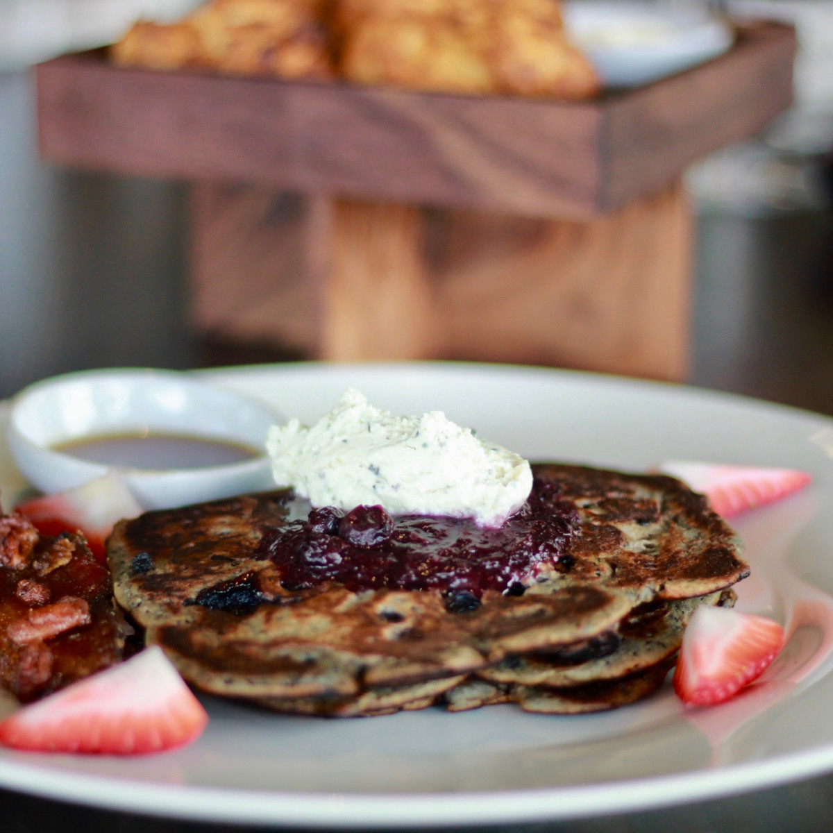 Poitin blueberry pancakes