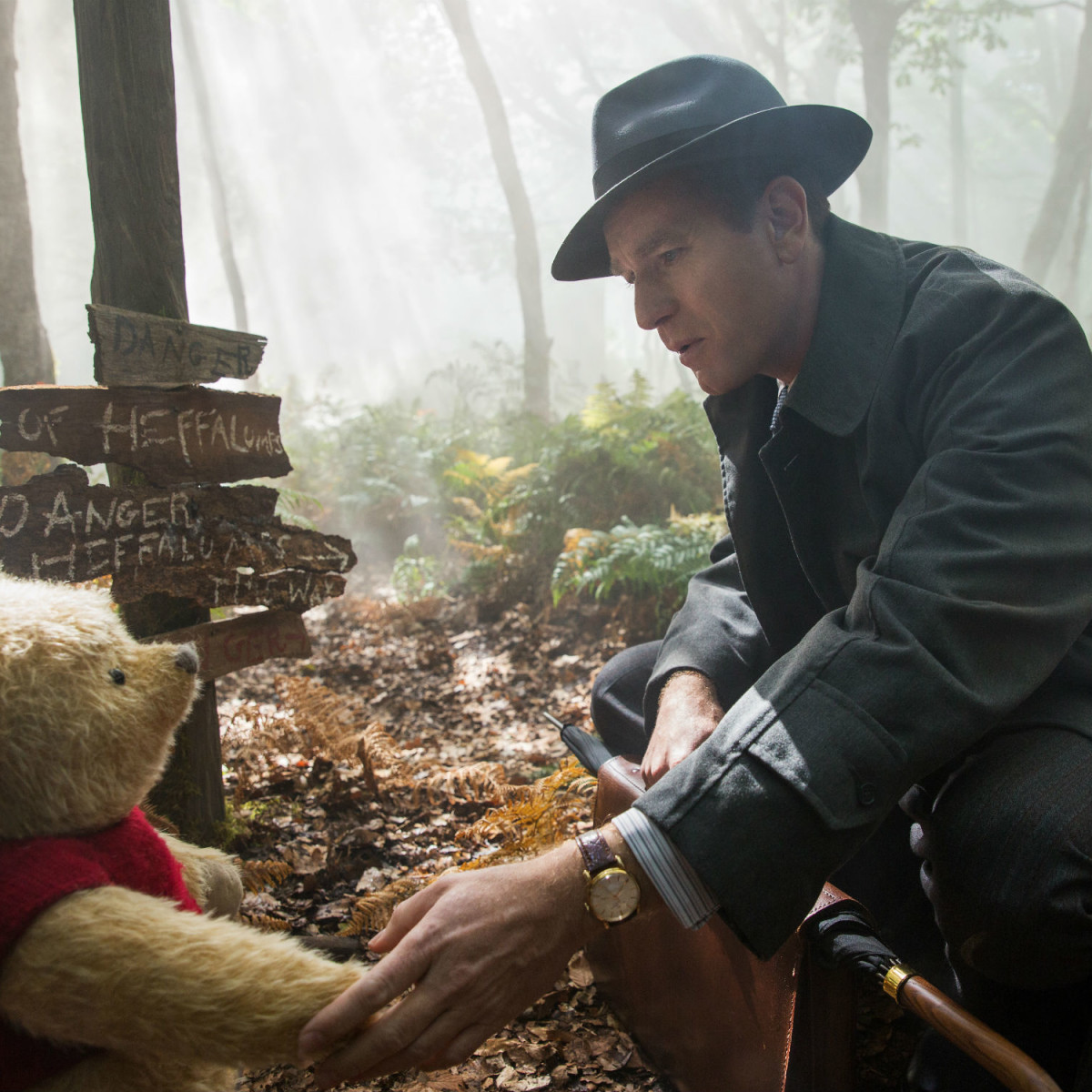 Winnie the Pooh and Ewan McGregor in Christopher Robin
