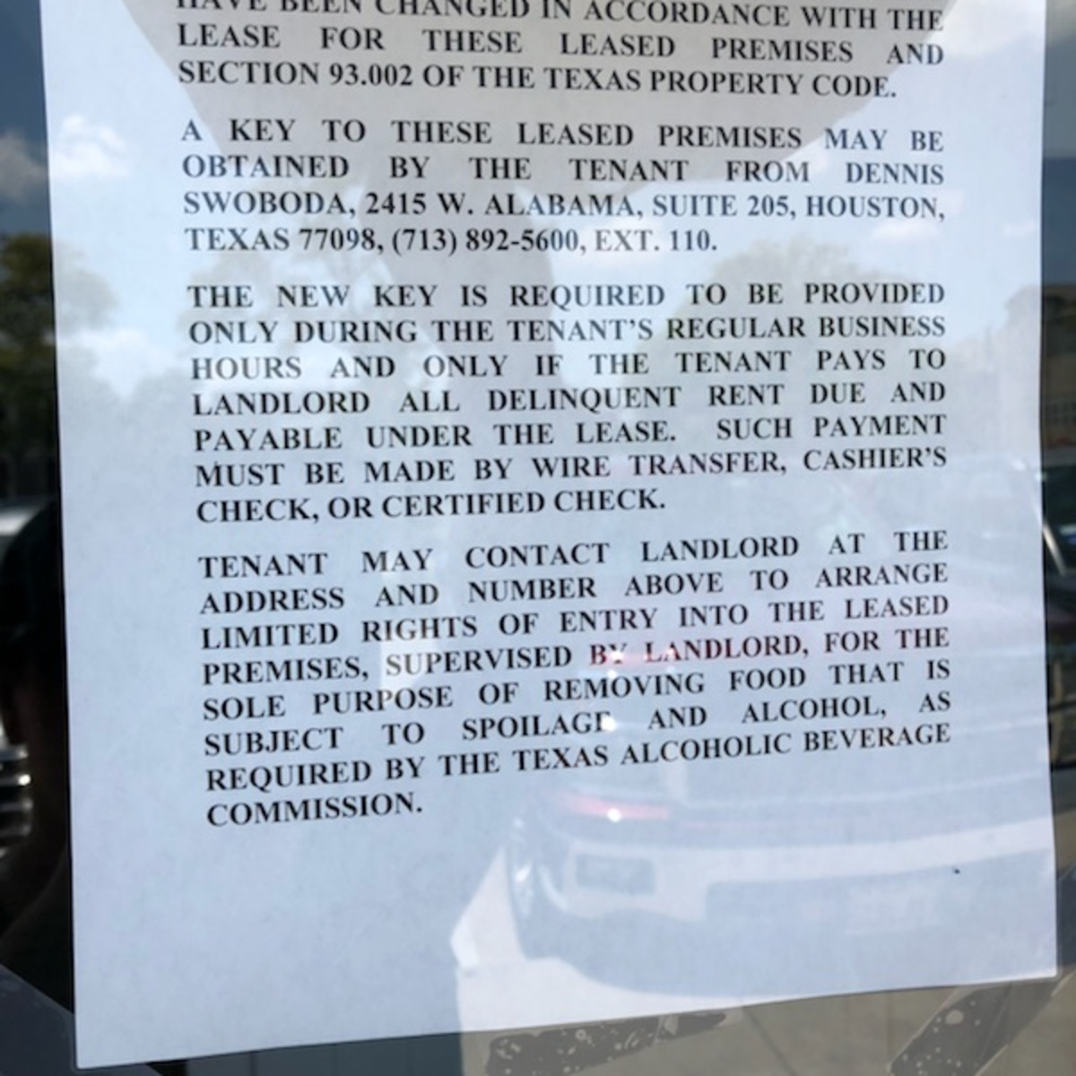 Star Fish locked out notice