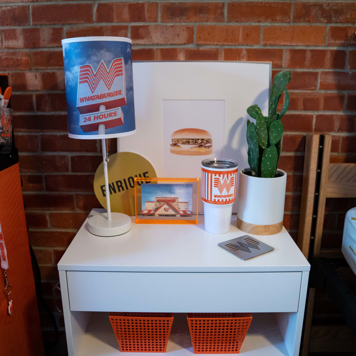 Whataburger dorm room bedside table